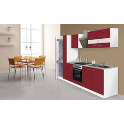 RESPEKTA Küchenzeile Ibiza, mit E-Geräten, 300 cm rot