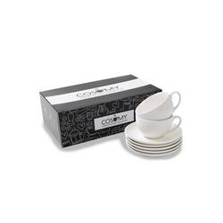Cosumy Cappuccinotasse Cappuccino Tassen 6er Set aus Keramik Weiß - Mit (6-tlg), Keramik, Cappuccino Tassen 6er Set aus Keramik Weiß - Mit Untertassen - Hält Lange warm - Spülmaschinenfest - 180ml