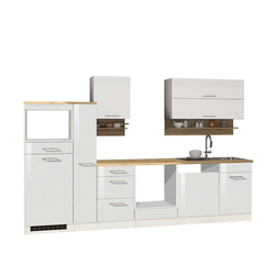 Küchenzeile in Weiß Hochglanz 310 cm breit (10-teilig)
