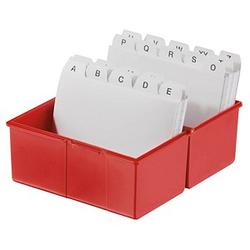 HAN A6 Karteikasten DIN A6   für 400 Karteikarten rot mit Deckel