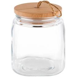 APS Vorratsglas, Glas, (Set, 2-tlg), mit Holzdeckel 2000 ml - 14 cm x 14 cm x 17 cm