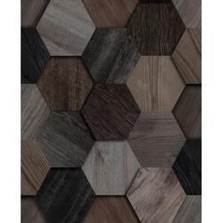 WOW Vliestapete Hexagon, Holz grau