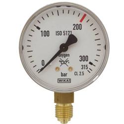 Druckmessgerät Manometer Sauerstoff R 1/4 Zoll 315 bar, Durchfluss bis 200 L/min