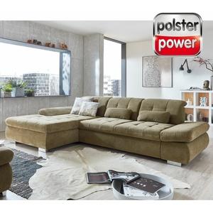 polsterpower Ecksofa - olivgrün - mit Funktionen - Canapé links