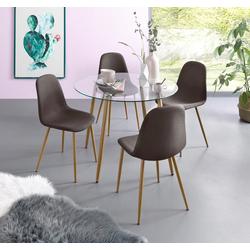 my home Essgruppe Miller, (Set, 5-tlg), Glastisch mit 4 Stühlen (Webstoff) grau