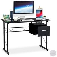 Relaxdays Schreibtisch Glas mit Schublade schwarz