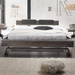 Bett in Grau Akazie massiv Klemmkissen