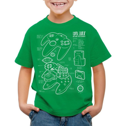style3 Print-Shirt Kinder T-Shirt N64 Controller Blaupause 64-Bit Videospiel grün 164