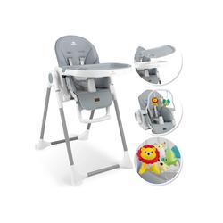 KIDIZ Hochstuhl, 3in1 Hochstuhl, Sitzerhöhung, Hocker, Kinderhochstuhl inkl. Spielbügel, Babyliege, Kombihochstuhl, verstellbare Rückenlehne und Höhe,mitwachsend ab 0 grau