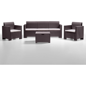BICA Gartenmöbel Set Nebraska 3, Lounge 5 Plätze, Braun, Rattan Design