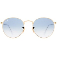 Ray Ban Round Flat Lenses RB3447N 001/3F 50-21 polished gold/light blue