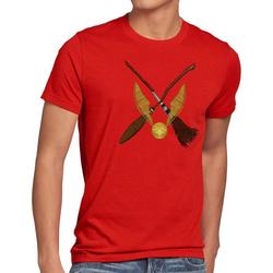 style3 Print-Shirt Herren T-Shirt Goldener Schnatz turnier sport besen quidditch rot L