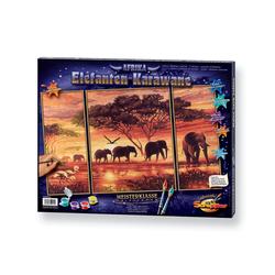 Schipper Malen nach Zahlen Meisterklasse Triptychon - Elefanten Karawane, Made in Germany bunt