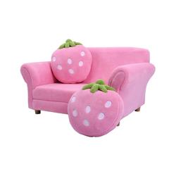 COSTWAY Sessel Kindersessel, Kindersofa Kindermöbel 90x54,8x48cm Korallen-Samt mit 2 Kissen rosa