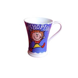 Fine Bone Porzellan Tasse Teetasse Milchtasse 5442-1014A Shopping Kinder blau