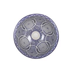 Casa Moro Waschbecken Mediterranes Keramik-Waschbecken Fes95 rund Ø 40 cm bunt Höhe 18 cm Handmade Waschschale, Marokkanische Handwaschbecken Aufsatzwaschbecken für Bad Waschtisch Gäste-WC, WB40305, Handmade