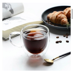 ZELLERFELD Teeglas 2 x Teegläser Kaffeegläser mit Henkel Doppelwand 250ml ideal für Tee, Kaffee, Kakao, Cappucino Heat-Resistant Glass (2-tlg) 250 ml