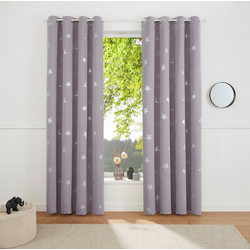 Gardine Blackout Curtain With Foil Print Star, my home, Ösen (1 Stück) grau 135 cm x 175 cm