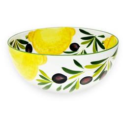 Lashuma Salatschüssel Zitrone Olive, Keramik, (Packung, 1-tlg), Runde Keramikschüssel, Servierschale Ø 26 cm