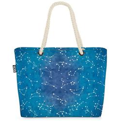 VOID Strandtasche (1-tlg), Sternzeichen Beach Bag Sterne Himmel Astrologie Schütze Löwe Krebs Waage Stier