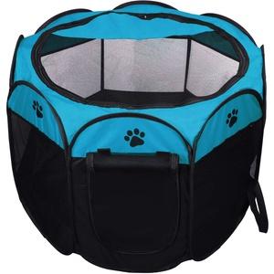 Coolty Faltbar Haustier Zelt, Tragbarer Welpenlaufstall Tierlaufstall für Hunde Katzen Kleintiere, 91 * 91 * 58cm (Blau)