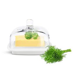 Sendez Butterdose Kleine Butterdose auf Porzellanteller Butterschale Kühlschrankbutterdose