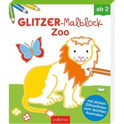 Glitzer-Malblock Zoo als Buch von