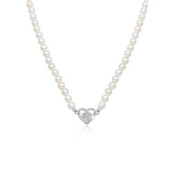 Elli Perlenkette Choker Perle Herz Edelweiss 925 Silber