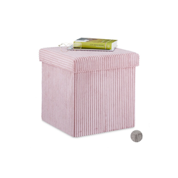 relaxdays Sitzwürfel Sitzwürfel faltbar Samt rosa