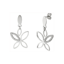 JOBO Paar Ohrhänger, Edelstahl mit 36 Kristallsteinen