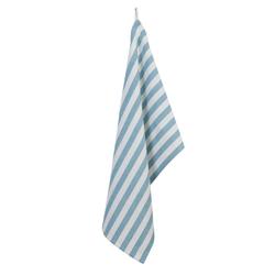 Clayre & Eef Geschirrtuch Geschirrtuch SEA SHELLS aqua türkis blau weiß mit Streifen Coastal Farmhouse