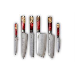 Calisso Damastmesser Ruby Line 6 tlg. Küchenmesserset, Damaszener Messer