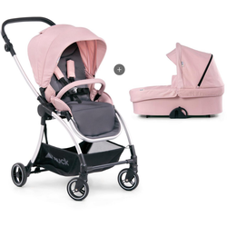 Hauck Kombi-Kinderwagen Eagle 4S Duoset, pink/grey, mit Babywanne, Fußsack und Moskitonetz