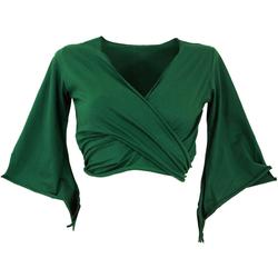 Guru-Shop T-Shirt Elfen Top, Top Goa-chic, Wickeltop - smaragdgrün M/L