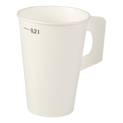 Henkelbecher Kaffeebecher weiß, Eichtstrich, Pappe beschichtet, 200 ml,  80 Stk.