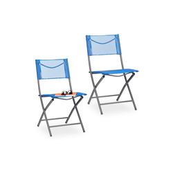 relaxdays Klappstuhl Klappbarer Gartenstuhl 2er Set blau