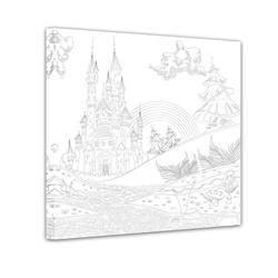 Bilderdepot24 Wandbild, Burg - Ausmalbild 80 cm x 80 cm