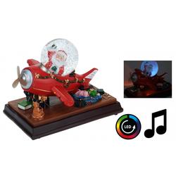 Weihnachtsmann im Flugzeug mit Weihnachtsmusik Schneekugel und LED