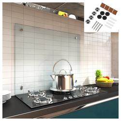 Mucola Küchenrückwand Spritzschutz Klarglas Glasrückwand Fliesenspiegel Herdspritzschutz Herdblende aus ESG Glas Wandschutz, (1-tlg), Inkl. Montagematerial 80 cm