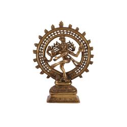 Guru-Shop Dekofigur Messingfigur, Statue Shiva im Feuerkranz 29 cm..