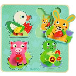 DJECO Puzzle Konturenpuzzle Croc-carrot, 4 Teile, Puzzleteile