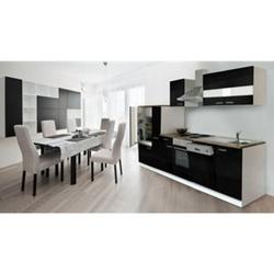 Respekta Küchenzeile KB310WS 310 cm Weiß - Schwarz