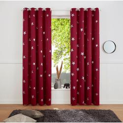 Gardine Blackout Curtain With Foil Print Star, my home, Ösen (1 Stück) lila 135 cm x 145 cm