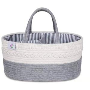 Baby-Wickeltasche, Organizer, 100 % Baumwolle, stilvoll, Seil-Aufbewahrungskorb, tragbare Tragetasche, Auto-Organizer, Baby-Party-Korb für Feuchttücher, Spielzeug-Aufbewahrung