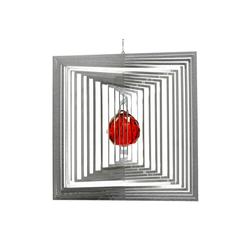 ILLUMINO Windspiel Edelstahl Windspiel Quadrat Quadro -L mit rubinroter 30mm Kristallkugel Metall Windspiel für Garten und Wohnung Gartendeko Wohn und Fenster Deko