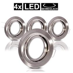 etc-shop LED Einbaustrahler, 4er Set LED Einbau Decken Strahler Bade Zimmer Lampen Spot schwenkbar rund