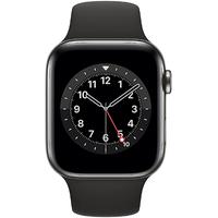 Apple Watch Series 6 GPS + Cellular 44 mm Edelstahlgehäuse graphit, Sportarmband schwarz