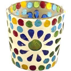 Guru-Shop Windlicht Mosaik Windlicht Glas bunt