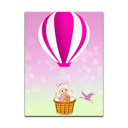 Bilderdepot24 Leinwandbild, Leinwandbild - Kinderbild - Baby im rosa Heissluftballon 30 cm x 40 cm