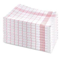 10er Set Geschirrhandtuch aus Halbleinen, kariert, rot-weiss, 50x70cm (rot)
